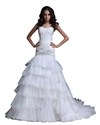 Show details for Ivory Sweetheart Mermaid Organza Wedding Dresses With Gold Embroidery