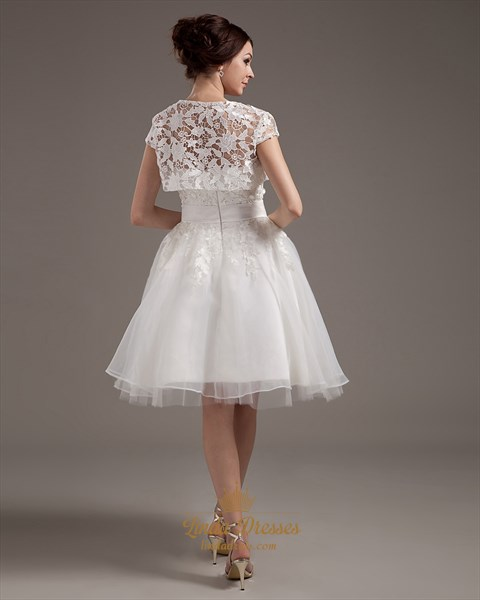 Ivory Strapless Lace Bodice Knee Length Wedding Dresses With Lace Jacket