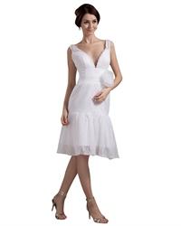 Unique Vintage Lace Deep V Back Wedding Dresses With Flower Belt