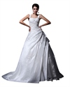 Show details for Ivory A Line Lace Applique Wedding Dress With Ruching And Dropped Waist