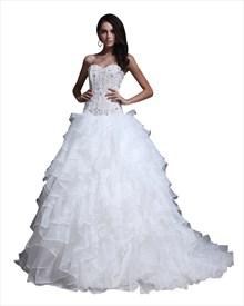 Ivory Strapless Sweetheart Princess Multi-Layered Organza Wedding Dress