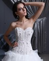 Show details for Ivory Strapless Sweetheart Princess Multi-Layered Organza Wedding Dress