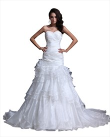 White Sweetheart Beaded Organza Wedding Gown With Tiered Ruffle Skirt