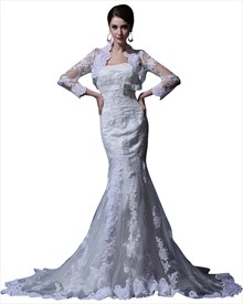 Vintage Ivory Strapless Mermaid Lace Wedding Dress With Jacket