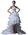 Show details for Ivory Organza Strapless High Low Wedding Dress With Beaded Lace