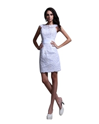 Elegant Short White Lace Sheath Wedding Dress With Cap Sleeves