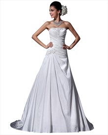 Ivory Strapless A Line Dropped Waist Taffeta Wedding Dress With Ruching