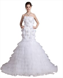 White Strapless Layered Tulle Skirt Mermaid Wedding Dresses With Flowers