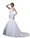 Show details for Ivory Mermaid Beaded Lace Applique Illusion Neck Wedding Dress With Sash
