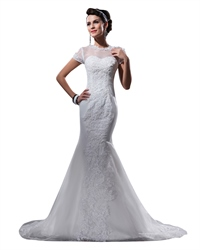 Ivory Lace Appliques Organza Mermaid Wedding Dresses With Cap Sleeves