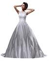 Show details for Ivory Elegant Lace Appliqué Satin A-Line Vintage Wedding Dresses