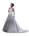 Show details for Ivory Taffeta Beaded Lace Applique Wedding Dresses With Bubble Skirt