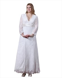 White V-Neck Lace Ankle Length A-Line Wedding Dresses With Long Sleeves