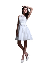 Simple White Elegant Short Lace Bodice Satin Skirt Wedding Dresses