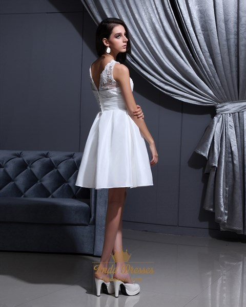 Simple White Elegant Short Lace Bodice Satin Skirt Wedding Dresses