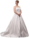 Show details for Ivory Strapless A Line Plus Size Wedding Dress With Beaded Appliques