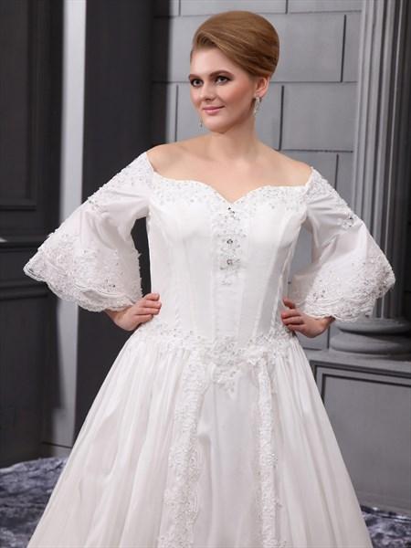 Ivory Satin A Line Off The Shoulder Wedding Dress With Flutter Sleeves