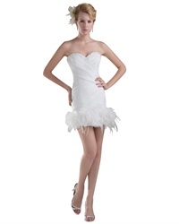 Ivory Sheath Beaded Sweetheart Wedding Dress With Feather Bottom