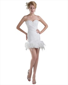 Ivory Sheath Beaded Sweetheart Wedding Dress With Feather Bottom