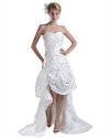 Show details for Ivory Sweetheart Strapless High Low Wedding Dress With Rosette Skirt