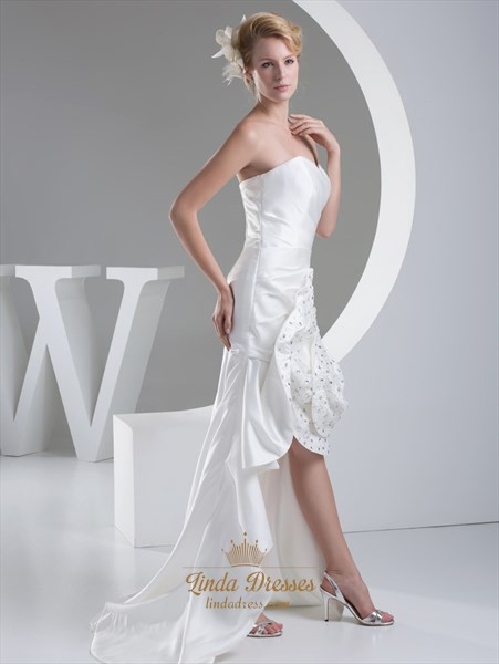 Ivory Sweetheart Strapless High Low Wedding Dress With Rosette Skirt