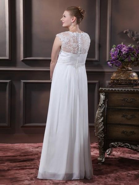 Ivory Chiffon V Neck Cap Sleeve Wedding Dress With Sheer Lace Back