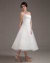 Show details for Ivory Organza A Line Strapless Tea Length Wedding Dress With Applique
