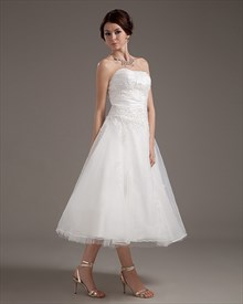 Ivory Organza A Line Strapless Tea Length Wedding Dress With Applique