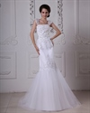 Show details for White Mermaid Trumpet Tulle Wedding Dresses With Lace Applique