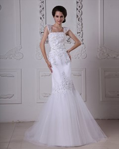 White Mermaid Trumpet Tulle Wedding Dresses With Lace Applique