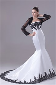 Black And White Mermaid Strapless Wedding Dresses With Lace Jacket