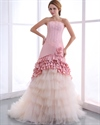 Show details for Pink And Champagne Strapless Layered Skirt Wedding Dresses With Flower