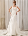Show details for Ivory Lace V Neck Empire Mermaid Wedding Dress With Beaded Waistband