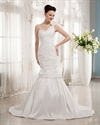 Show details for Ivory One Shoulder Flower Strap Mermaid Wedding Dress With Ruching
