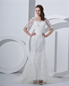 Show details for Ivory V-Neck Lace Chapel Train Mermaid Wedding Dress With Half Sleeves