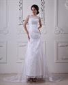 Show details for White Lace A Line Dropped Waist Vintage Wedding Dress With Sheer Back