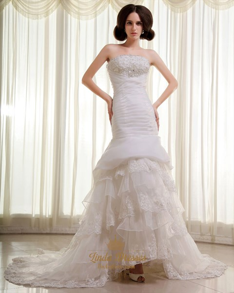 Ivory Strapless Organza Layered Mermaid Wedding Dresses With Beaded Lace