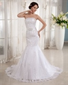 Show details for Ivory Strapless Mermaid Lace Applique Wedding Dress With Beaded Belt