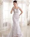 Show details for Ivory Lace V Neck Mermaid Empire Waist Wedding Dress With Beading