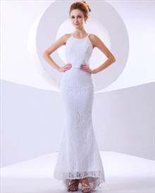 White Lace Mermaid Jewel Neckline No Train Wedding Dress With Feathers