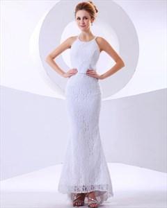 White Lace Mermaid Jewel Neckline No Train Wedding Dress With Feathers