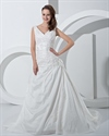 Show details for Ivory V Neck Taffeta Dropped Waist Wedding Dress With Floral Appliques