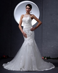 Ivory Jewel Neckline Mermaid Wedding Dress With Lace Appliques