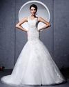 Show details for Ivory A Line Princess V Neck Chapel Train Wedding Dress With Applique