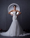 Show details for Ivory Lace Bodice Organza Skirt Strapless Mermaid Wedding Dresses