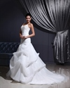 Show details for Ivory V Neck Chapel Train Pick Up Organza Wedding Dress With Beading