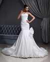 Show details for Ivory Taffeta Bubble Hem Strapless Mermaid Wedding Dress With Flowers