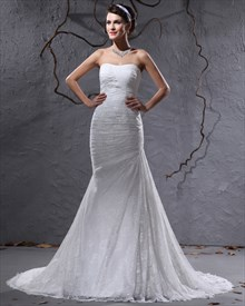 Ivory Lace Mermaid Strapless Wedding Dresses For Petite Brides