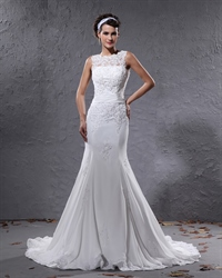 Ivory Mermaid Illusion Neckline Wedding Dresses With Lace Appliques