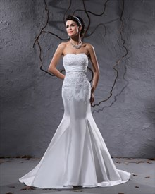 White Strapless Mermaid Wedding Dresses With Buttons All Down Back